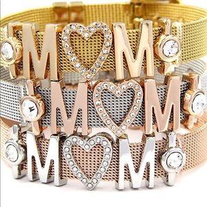 Jewelry - Stainless Steel Mom Crystal Charm Heart Bracelet